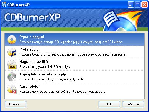 CDBurnerXP - obraz płyty